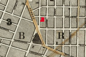 Map of Brooklyn, 1840 wBrooklyn Theatre Cropped